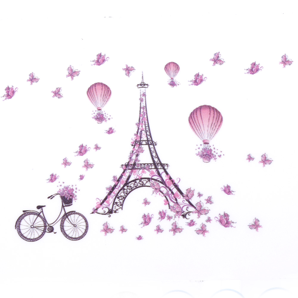 New for Eiffel Tower Pink Butterfly Vinyl Wall Sticker Decal DIY Nursery Kids Room Decor ...