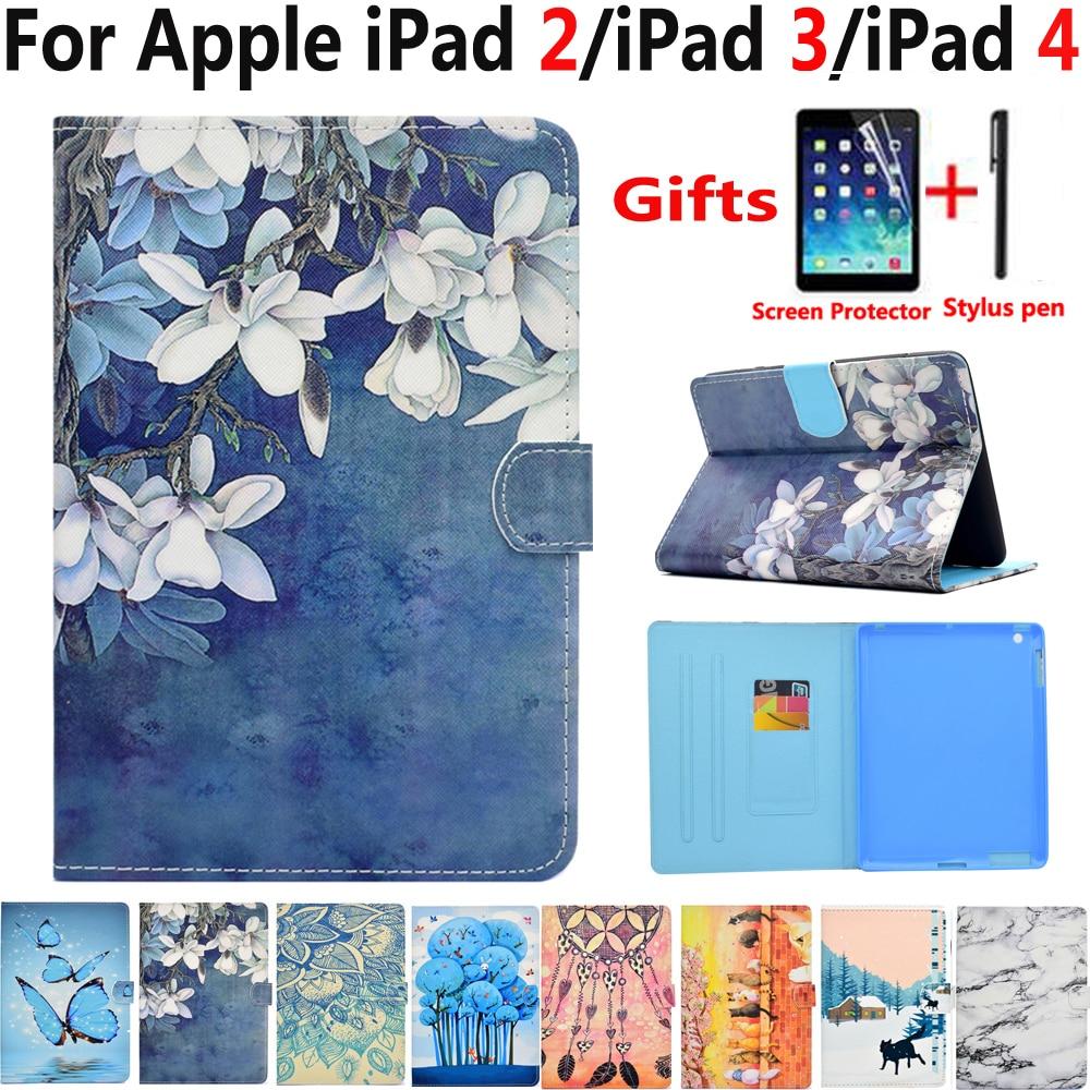 цена на Flower Case for Apple iPad 2 3 4 9.7 Fashion Painted Flip Magnet Sleep Wake Cover Case for iPad2 iPad3 iPad4 A1397 A1430 A1460