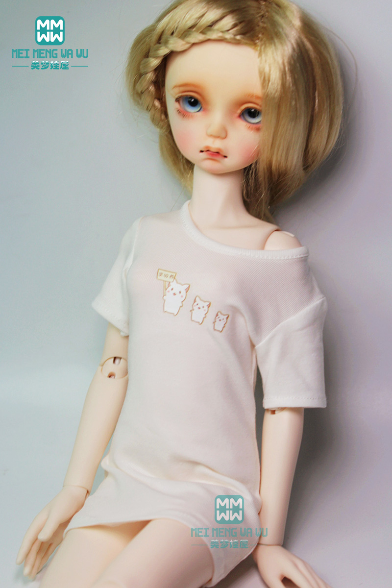 BJD doll clothes fits 14 BJD doll fashion Medium and long temperament T-shirt
