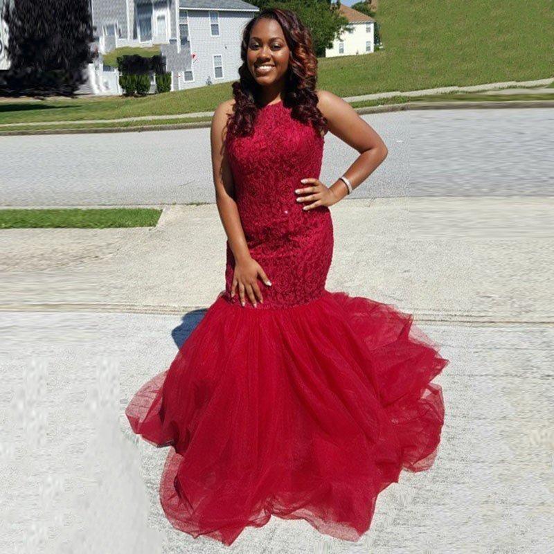 Red halter evening dress