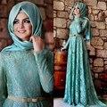 3 цвета кружева мусульманские вечерние платья длиной до пола пышными рукавами створки длинные вечерние платья хиджаб Vestido де феста элегантный ZED72