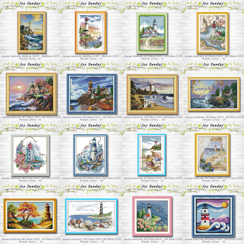 Seaside Lighthouse Series Decor Painting 14CT 11CT Counted Cross Stitch Kits Embroidery Set Needlework Set Chinese Cross Stitch