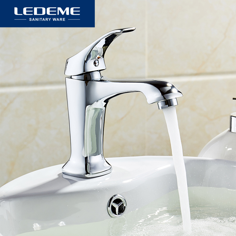 LEDEME New Hot Cold Faucet Modern Style Chrome Plated Bathroom Singe Handle Water Taps Copper Mixer