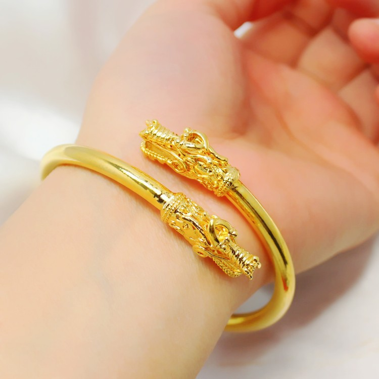 Exquisite Dragon S Head 24k Gold Plated 1 Quality Handmade In Hongkong Luxurious Hollow Open Fine Bangle For Women Bangles From Jewelry
