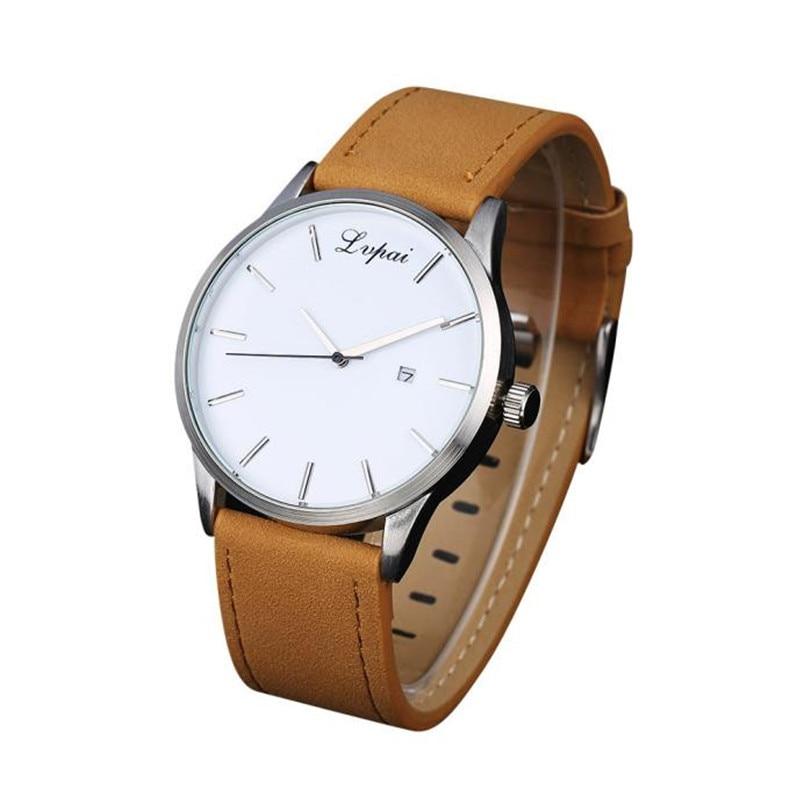 LVPAI high quality brand Man watch Popular Low-key Minimalist Connotation Leather Men's Quartz Wristwatch Relojes Hombre
