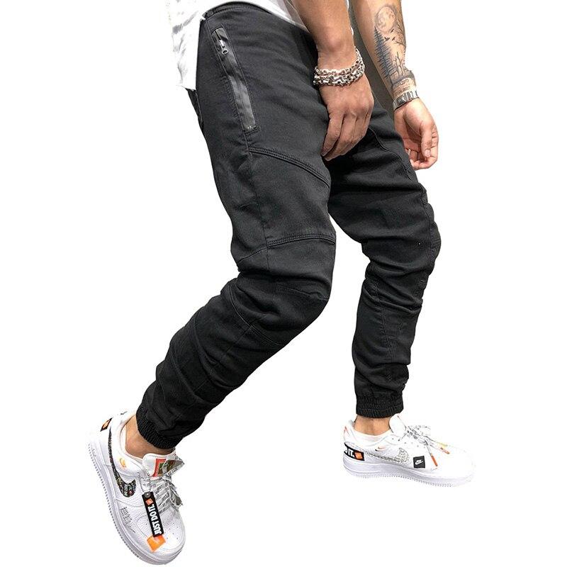 Men Pants Fashion Splicing Multi Pocket Harem Joggers Pants 2019 Male Trousers Mens Joggers Solid Pants Sweatpants Large Size