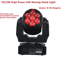 Free shipping High Quality LED Mini Wash Moving Head Light 7X12W RGBW Quad Color LED Moving Head Stage Light With Zoom Function