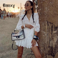 Runway Women's White Dress 2019 V neck Long Sleeve Lace Up Bandage Short Dress Holiday Boho chic Linen ruffle Dress robe femme
