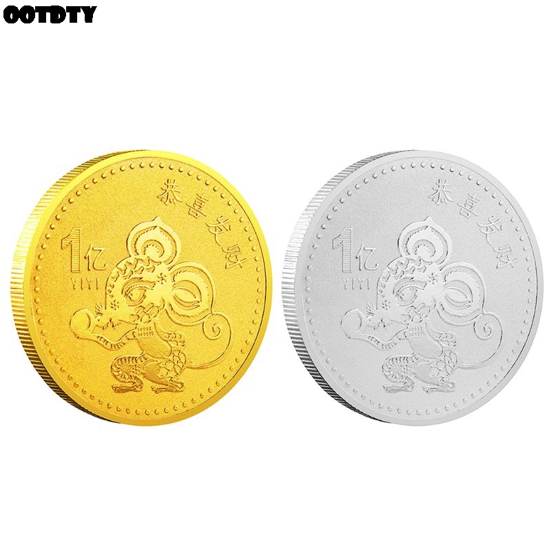 New 2020 Year of the Rat Commemorative Coin Chinese Zodiac Souvenir Challenge Collectible Coins Collection Art Craft Gift