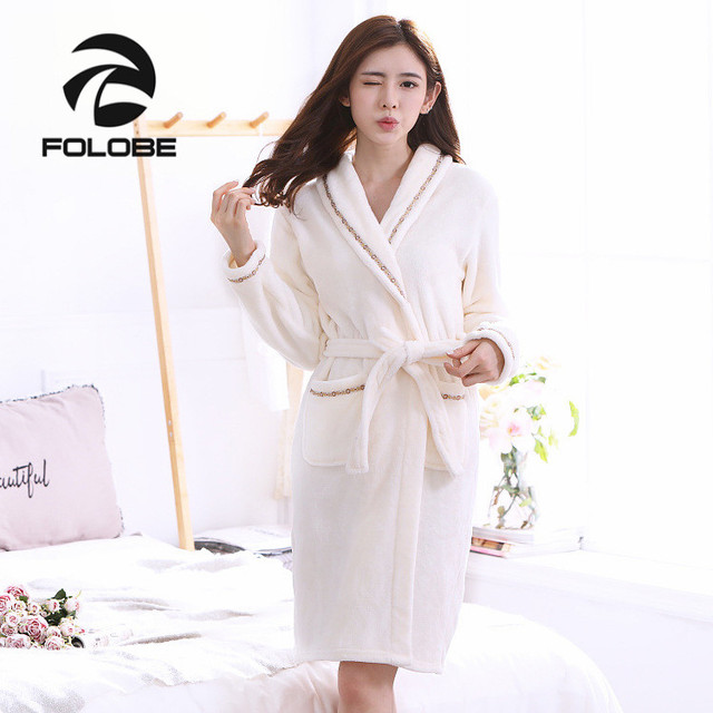 aa2f919b78b48 US $19.94 5% OFF|FOLOBE Ivory Robe Autumn Winter Bathrobes Flannel Robe  Female Sleepwear Lounges Homewear Pyjamas Bathrobe Nightgown Sleepwear-in  ...