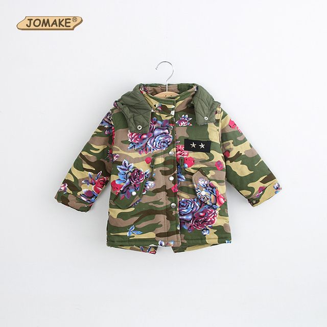 Fashion Camouflage Floral Winter Jackets For Girls Boy Coat Windbreaker Parka Children Outerwear Coats Thicken Warm Kids Clothes