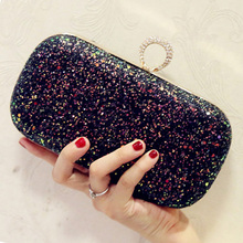 цена на Simple Design Sequined Diamonds Evening Bags Small Designer Clutch Evening Bag Black/Blue Chain Shoulder Day Clutches Purse