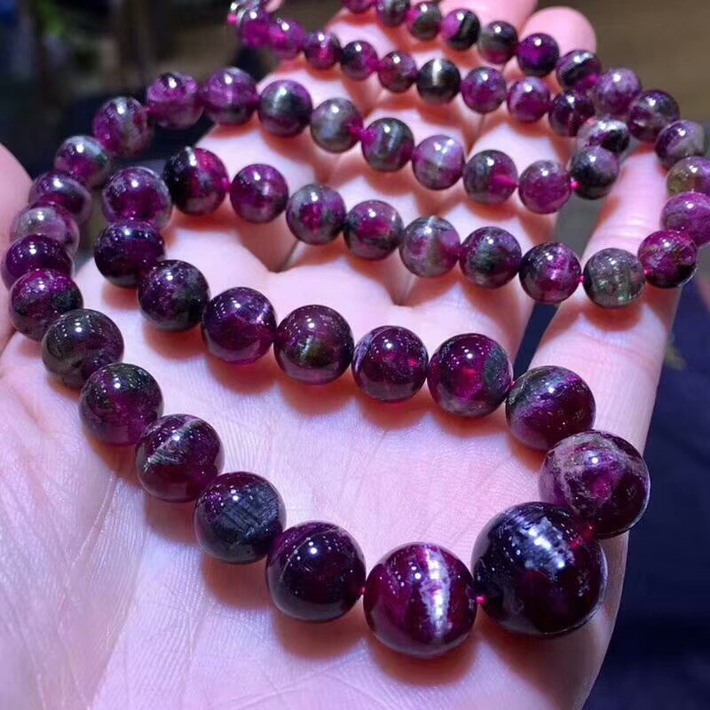 Certificate Natural Red Tourmaline Quartz Crystal Cat Eye Necklace 6-13mm Round Beads Stretch Necklace Woman Beads AAAAACertificate Natural Red Tourmaline Quartz Crystal Cat Eye Necklace 6-13mm Round Beads Stretch Necklace Woman Beads AAAAA
