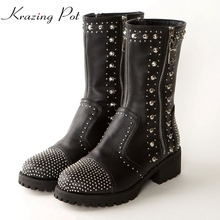 Krazing Pot genuine leather zipper med heels mild-calf boots women round toe rivets metal decoration luxury motorcycle boots L68