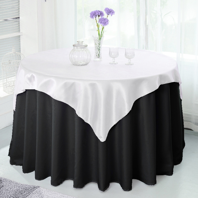 10pc 145cm X 145cm Square Double Stitched Satin Tablecloth In 22 Colors  Table Cover For Christmas