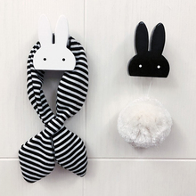 Cute Rabbit Hook Wood Clothes Hooks On Wall Decorate Kids Children Room ECO Friendly Hanger Hooks Black White(China)