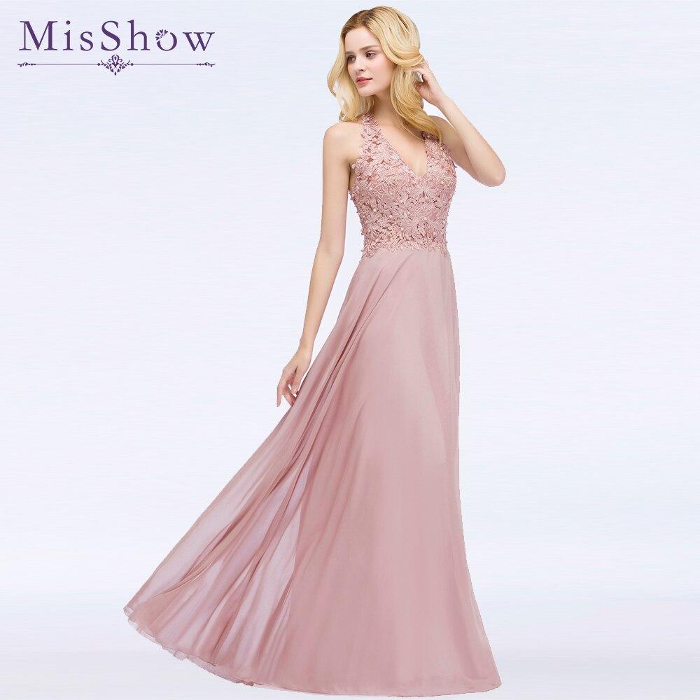 ארוך שמלה לנשף Vestido דה Festa רצפת אורך המפלגה שמלת ערב קו אשליה חזרה שמלות נשף 2019 עם פנינים
