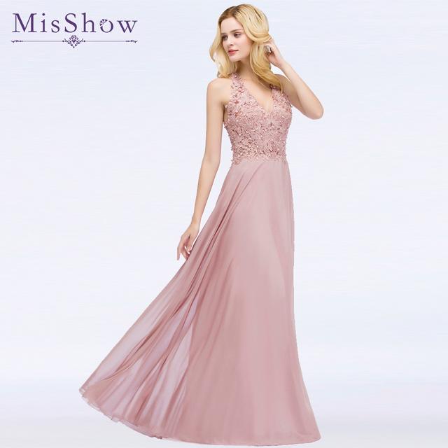 Pink Long Prom Dress Vestido de Festa Floor Length Party Formal Gown Dress A Line illusion Back Prom Dresses 2019 with Pearl