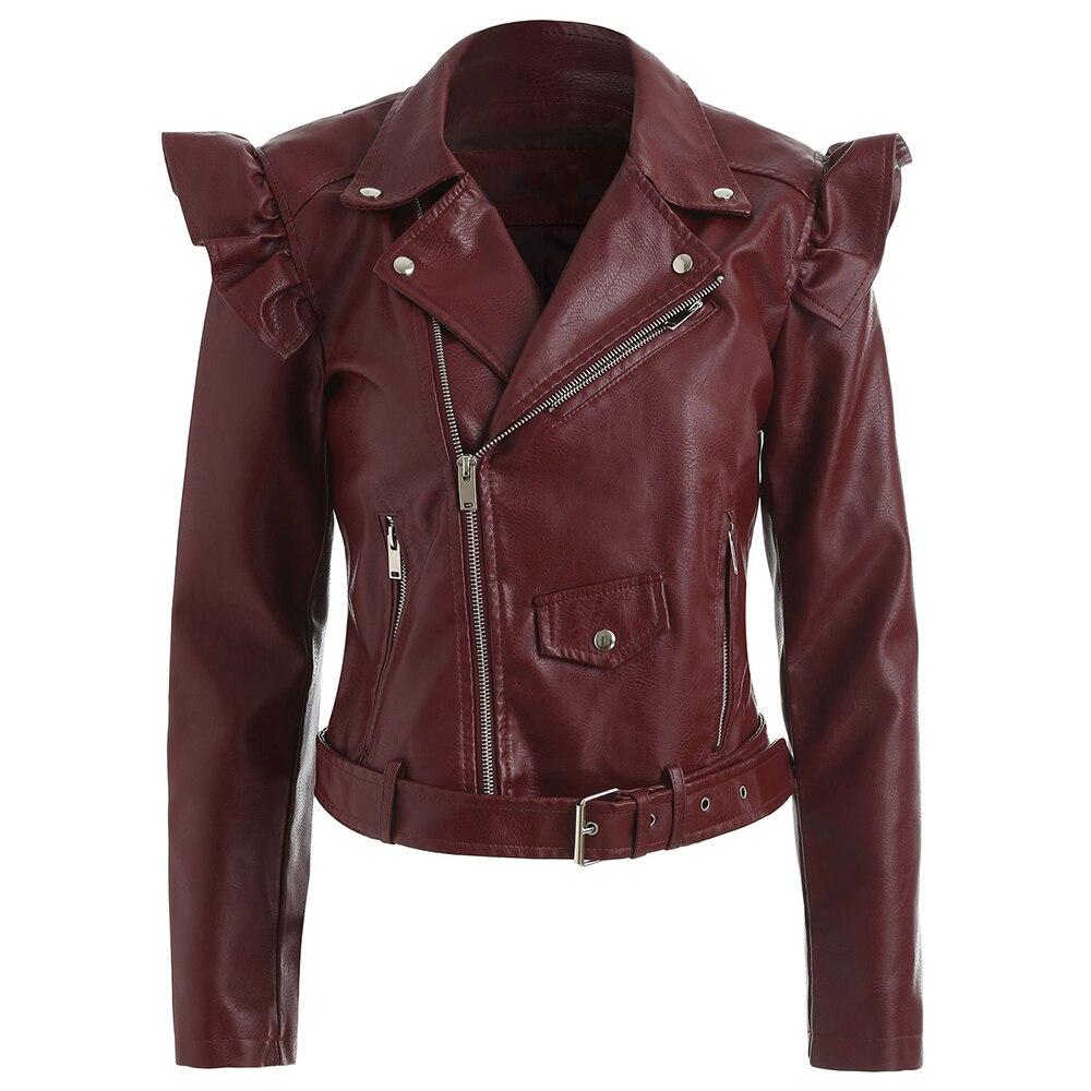 Skew Volants Zipper Faux En Cuir Moto Vestes Vestlinda Biker Veste Femmes Pu Manteaux Et Revers Outwear qCxwEX