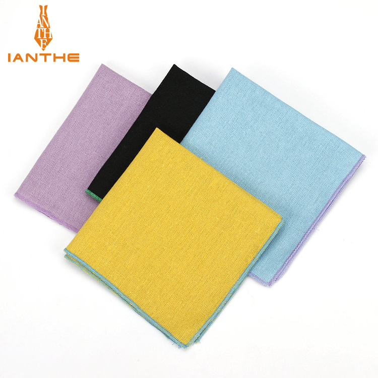 Brand New Men's Pocket Towel Linen Handkerchief Solid Candy Color Suits Wedding Banquet Classic Linen Handkerchief Pocket Square