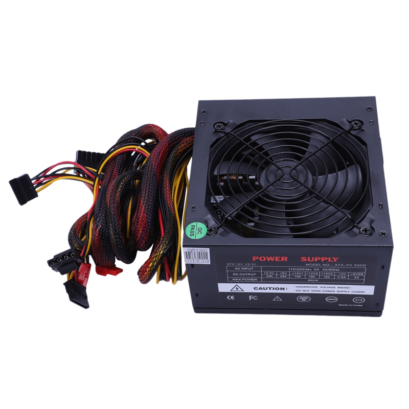 HOT-170-260V Max 650W Power Supply Psu Pfc Silent Fan 24Pin 12V Pc Computer Sata Gaming Pc Power Supply For Intel For Amd Comp