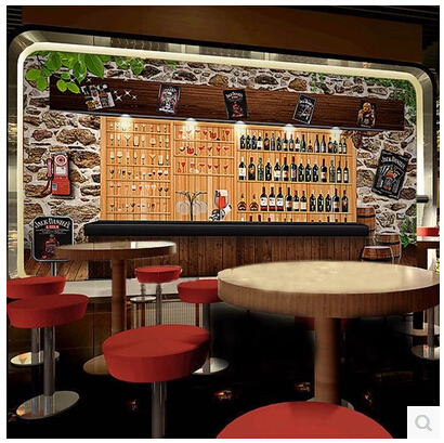 Continental 3D Stereoscopic Simulation Wine Cooler Large Mural Wallpaper Bar KTV Winery Restaurant Cafe