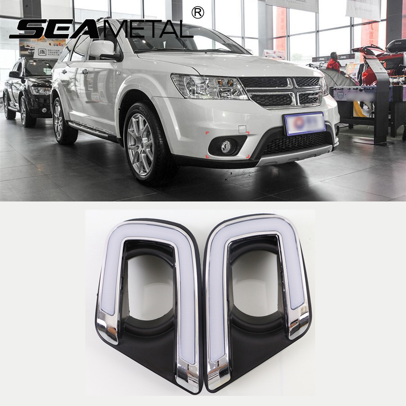 For Fiat Freemont Dodge Journey 2014 2015 2016 Car-styling DRL LED Daytime Running Light Turn Lights Auto Lamps Accessories accessories for dodge journey fiat freemont 7seats jc 2010 2017 2015 2016 inner floor mats foot pad car leather carpet kits
