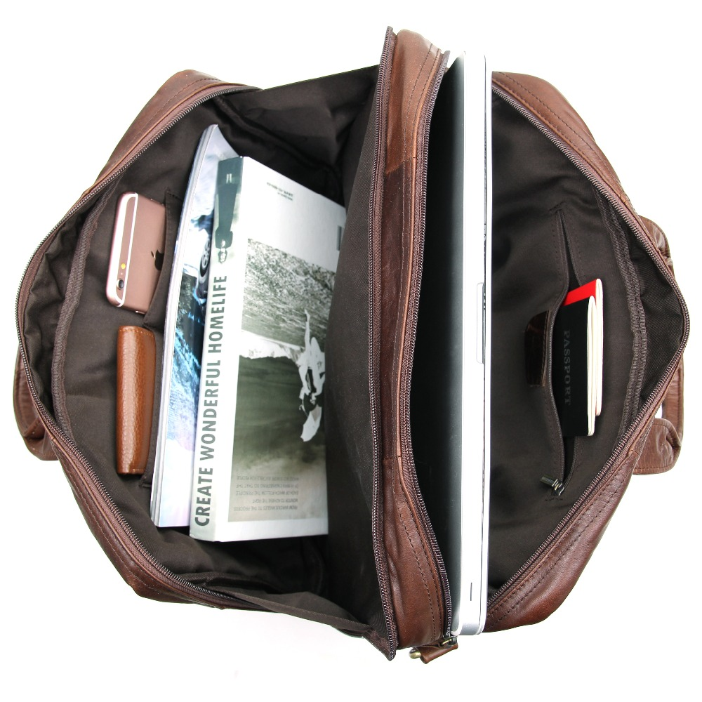 Augus Chocolate Color Leather Handbag Multi Functional Laptop Bag Classic Messenger Bag For Men Cow Leather Bag 7231Q