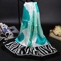 Grande Flor de Tinta de Impressão 100% Lenço De Seda Pura Xale Wraps Longo Tamanho 175x55 cm Vestuário Acessório para As Mulheres