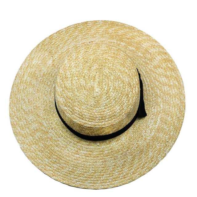 placeholder Women Summer Beach Sun hats 2017 Brand New Flat Top Straw Hat  Boater Hats Bone feminino 25d754409d80