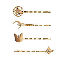 SANSUMMER Alloy Plating 2019 New Style Personalitie Simple Girl Star Moon Wand Animal Hairpin Womens Trendy Christmas Gift 5100