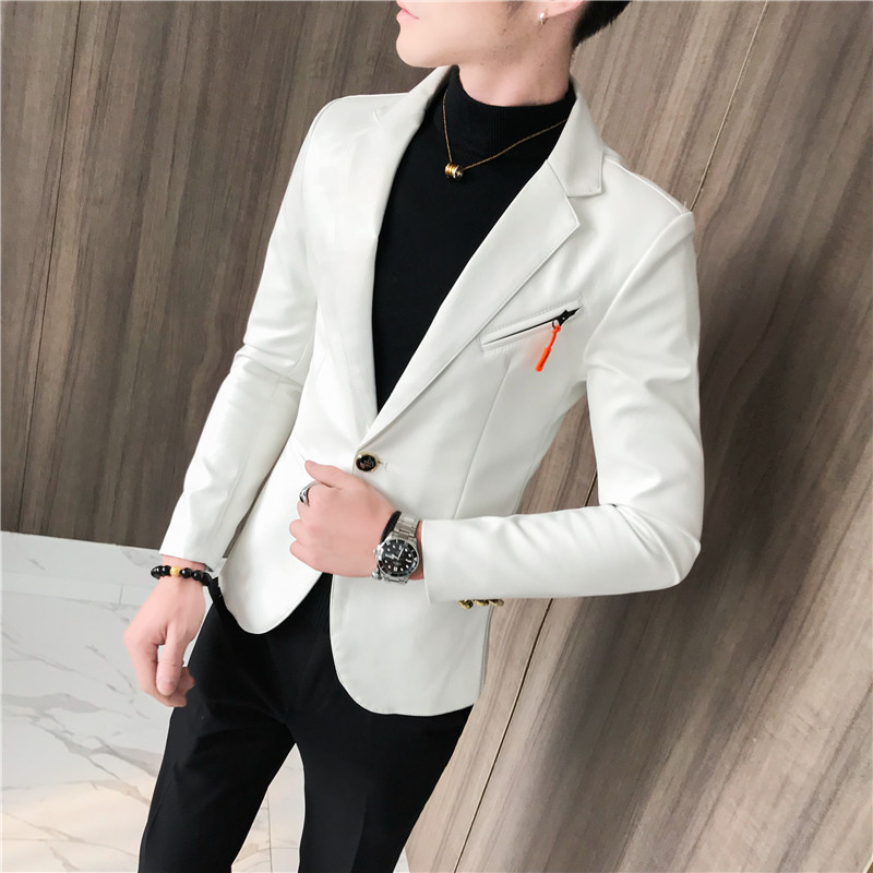 Leather Blazer Men High Quality Classic Motorcycle Bike Cowboy DJ Jacket Male Plus Thick Coats Clothing White Black Red 5XL