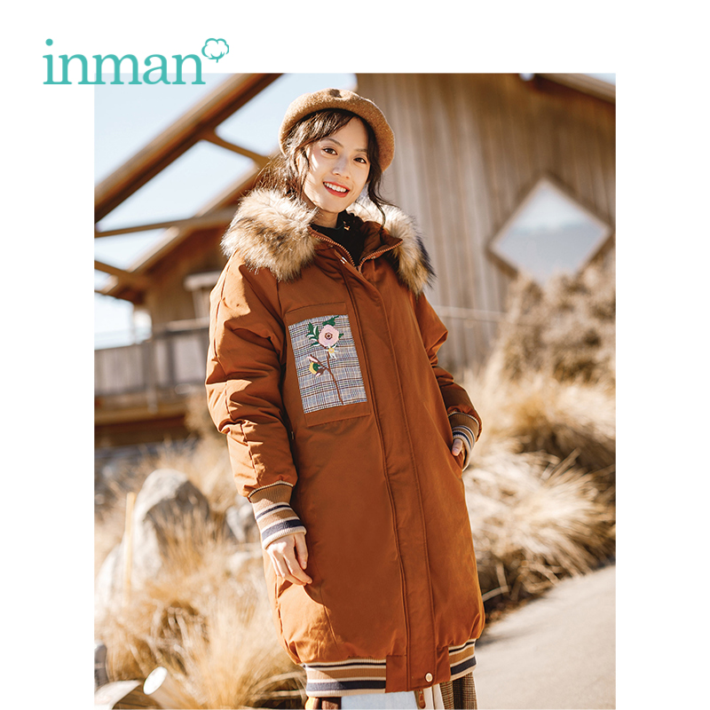 INMAN Winter New Arrival Female Fur Collar Thick Embroidery Fashion Long Section Women   Down     Coat