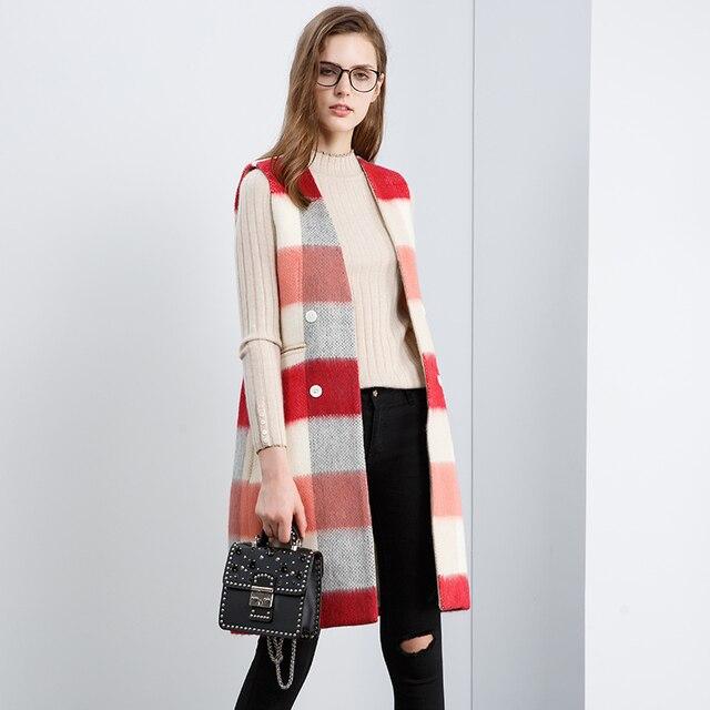 4886dab39558 Multicolore à carreaux de survêtement de laine gilet femmes long gilet