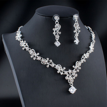 jiayijiaduo Classic women's wedding jewelry set silver / gold color fine necklace earrings accessory gift  dropshipping 2019 new
