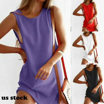 Summer Women Sleeveless Mini Dress Woman Solid Color Loose Casual Party Dress Ladies Elegant Woman Clothes Plus Size L-5XL image