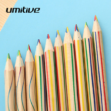 Umitive 5PCS/Lot 4 In 1 Rainbow Wood Color Pencils For Kids Adults Art Drawing Sketching Stationery Office School Supplies