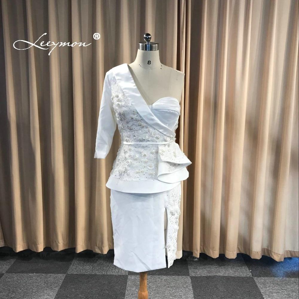 Leeymon 2019 White Elegant Three-piece Suit Sheath One-Shoulder Knee Length Lace Party Plus Size   Cocktail     Dresses