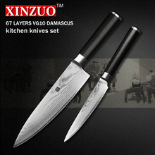 XINZUO 2 pcs kitchen knife set Damascus Chef knife Japanese VG10 steel Kitchen Knife sharp santoku utility knife free shipping
