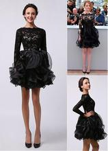Schwarze Spitze Niedlich Long Sleeves Short Prom Cocktailkleider Mini Rüschen High Neck A-linie Cocktailkleider Robe De Cocktail