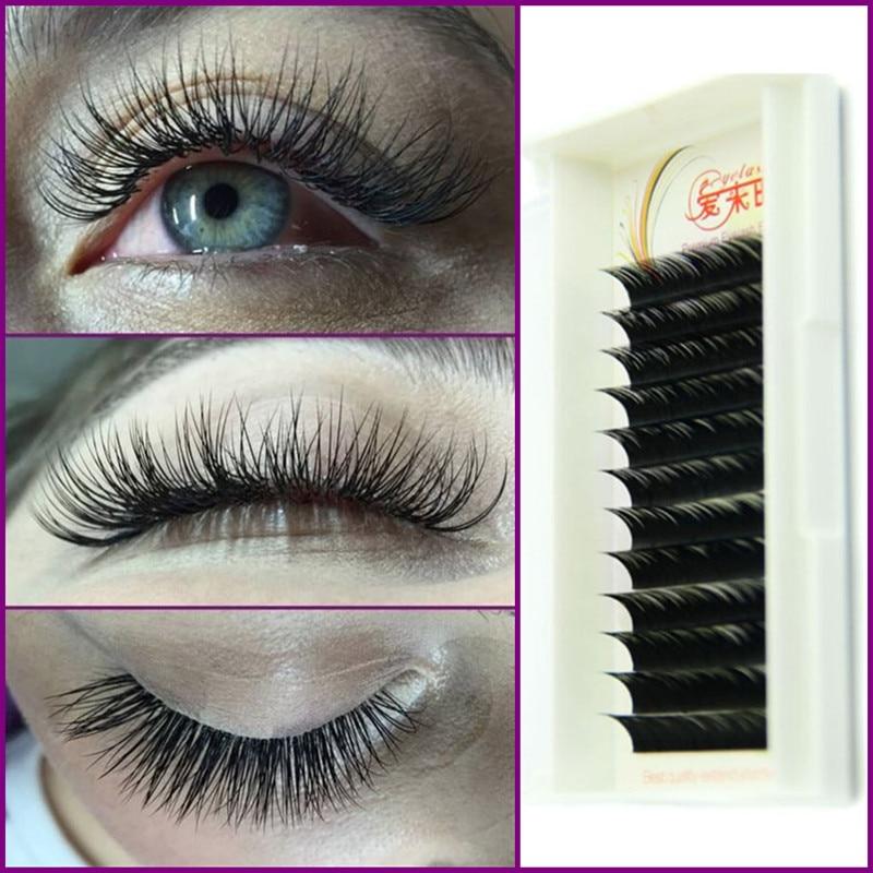 Aliexpress Buy High Quality 007 D Curl Silk Lashes Black Individual False Eyelash Extension Thick Fake Eyelash 8mm To 15mm Volume Lashes From