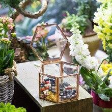 Desktop Display Succulent Fern Moss Plant Planter Pot Handmade Geometric Glass Flowerpot Europe Style Rose Gold Terrarium Box цена и фото
