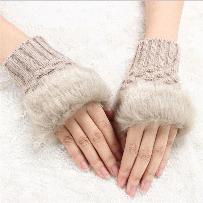 Women gloves Stylish Half Finger warmer winter Gloves Arm Crochet Knitted Rabbit Hair Mitten Warm Rhombus Artificial gloves