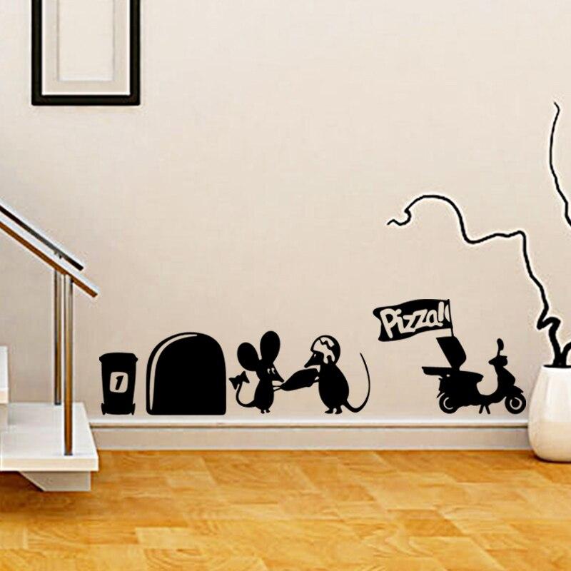 seni desain baru murah dekorasi rumah lucu tikus pizza wall sticker