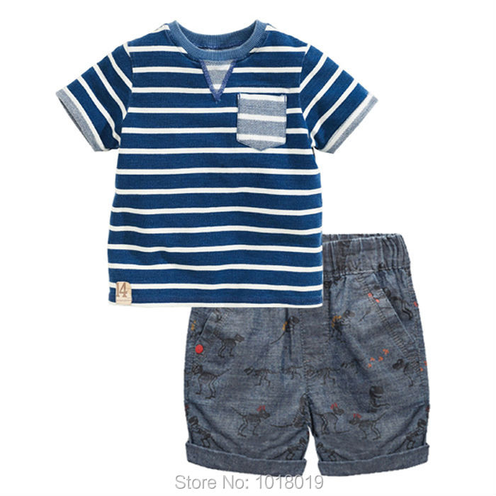 New 2017 Quality Brand 100 Cotton Baby Boys Clothing Sets 2pc Children Suit Kids Short Sleeve
