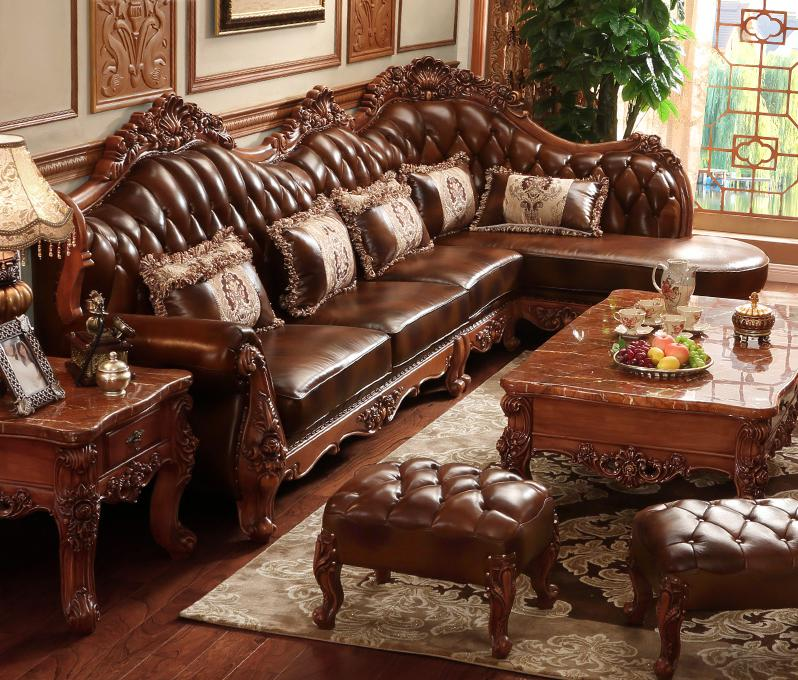 Aliexpress.com : Buy American Styl Esolid Wood L Shape Leather Sofa Set  With Carving For Living Room From Reliable Leather Sofa Set Suppliers On  Procare ...