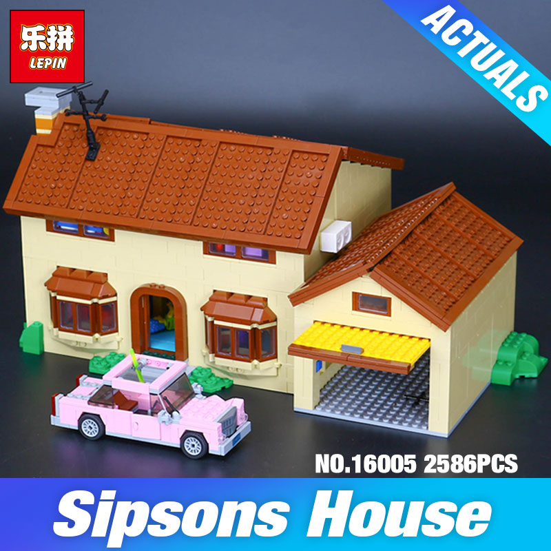 New 2575Pcs Lepin 16005 Simpson's family Kwik-E-Mart Set Building Blocks Bricks Educational Toys 71006 Funny Children DIY Gift pair of chic faux gemstone round hoop earrings for women