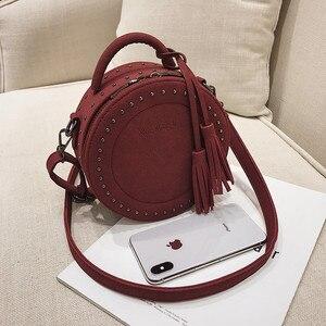 Image 3 - Vintage Scrub Lederen Crossbody Schoudertas Voor Vrouwen Ronde Mode Kwastje Messenger Bag Vrouwelijke Casual Tassen Hot Koop Sac