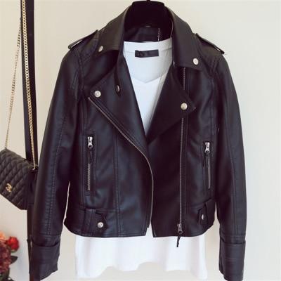 Female 2018 New Design Spring Autumn PU   Leather   Jacket Faux Soft   Leather   Coat Slim Black Motorcycle jaqueta de courro feminina