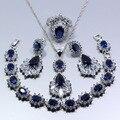 925 Sterling Silver Azul Criado Sapphire Áustria Crystral Quatro Peças Conjunto de Jóias Mulheres Tamanho do Anel 6/7/8/9/10 Free Gift Z130